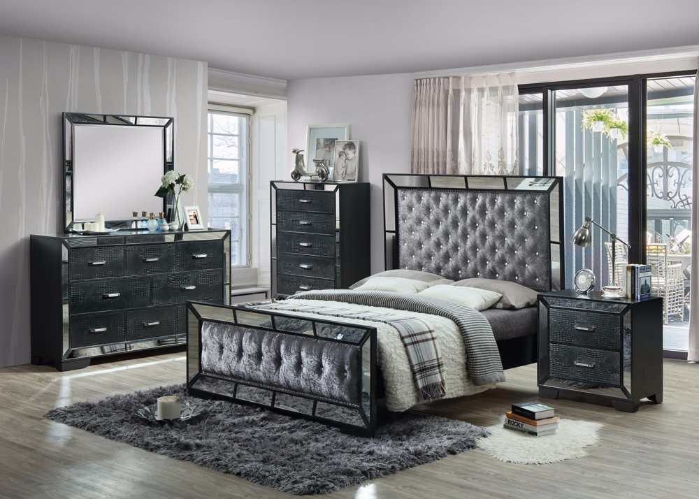 Gem 6 Piece Bedroom Set With Mirror Crush Velvet