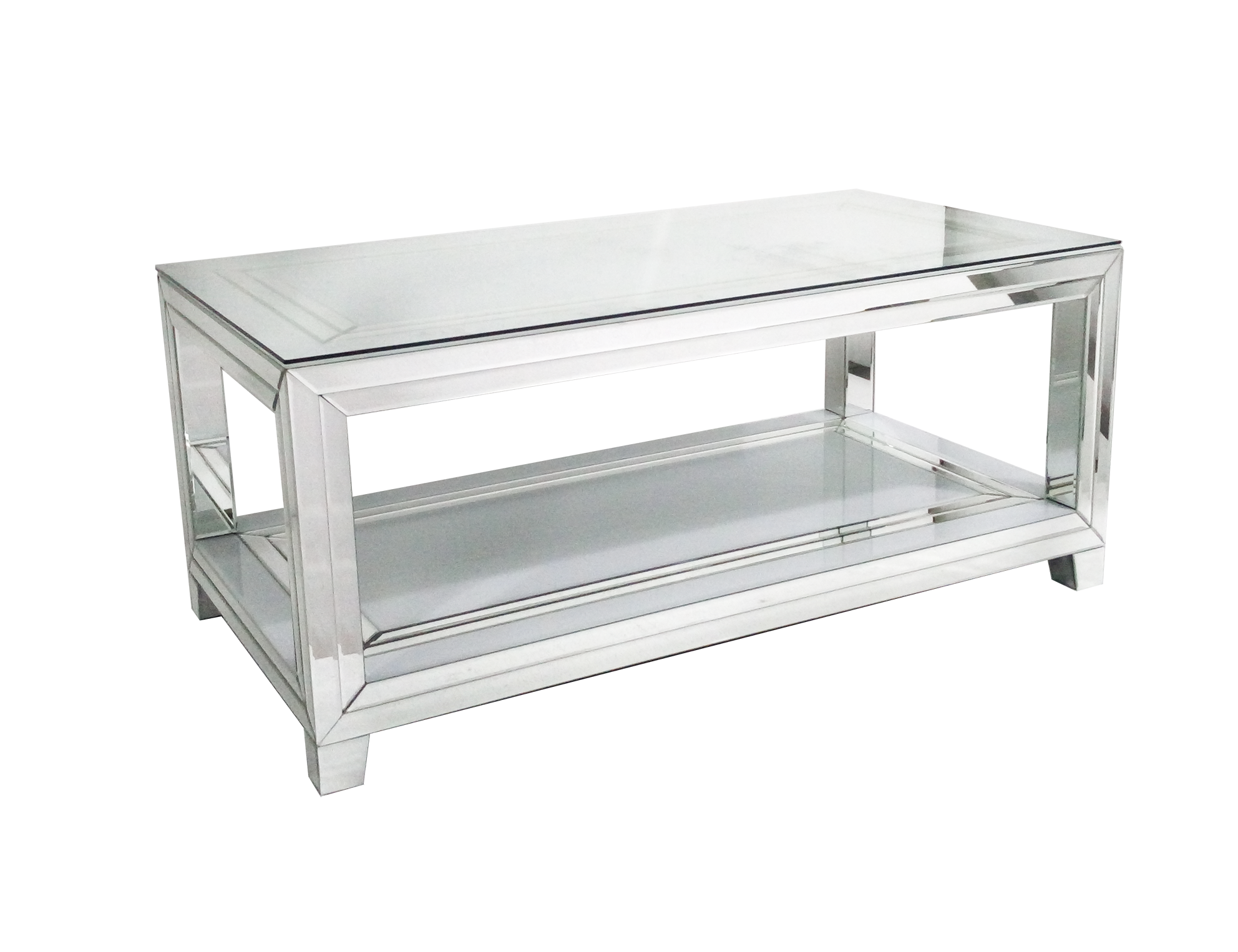 White Glass With Mirror Detail Coffee Table
