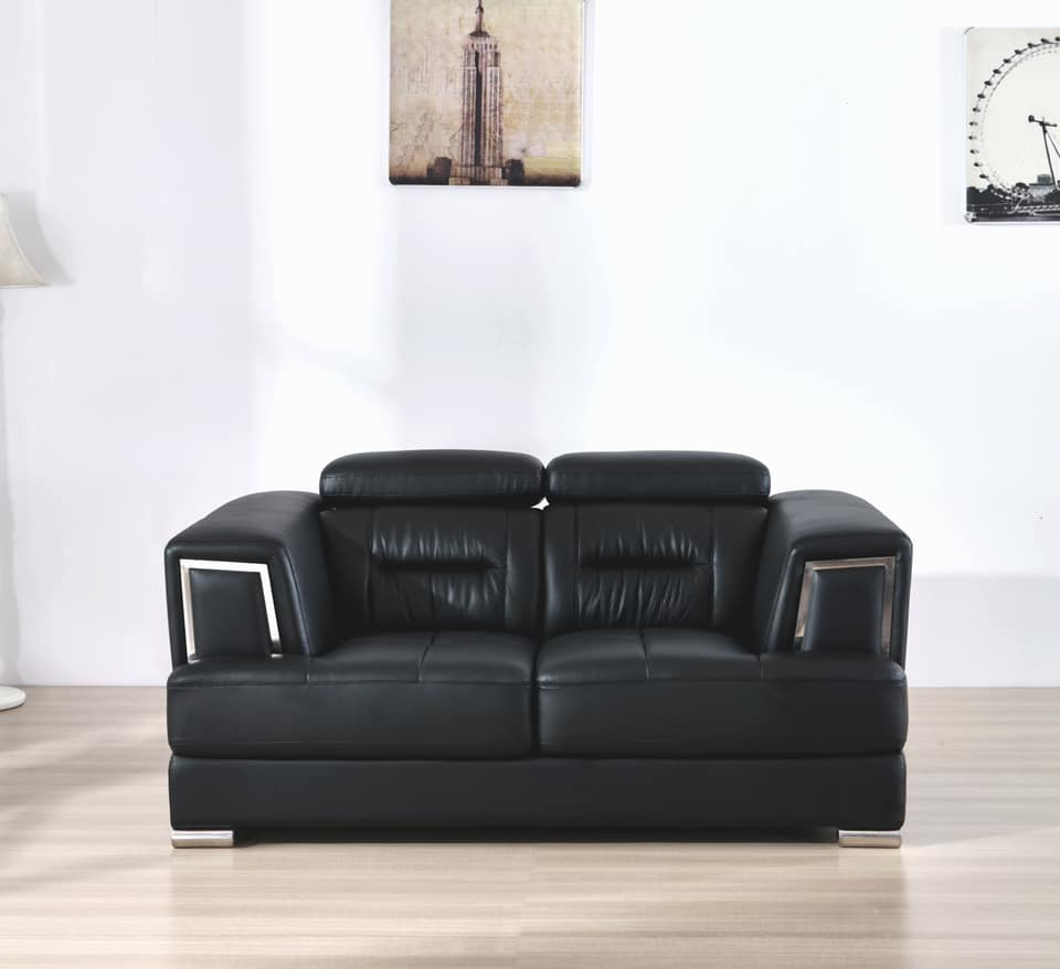 Madison 3 2 Seater Sofa Set In Genuine Leather With Chrome
